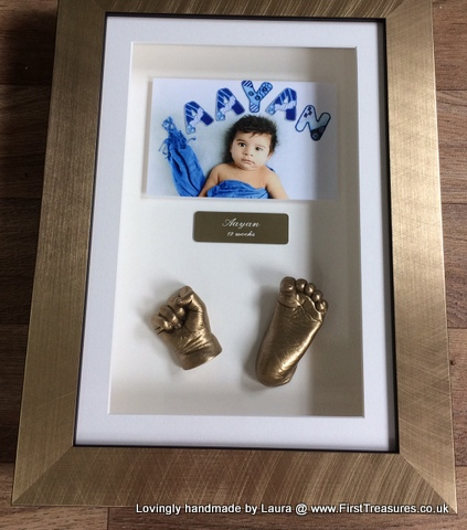 3d framed hand and foot cast and photo