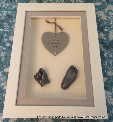 3d framed hand and foot cast with wooden heart