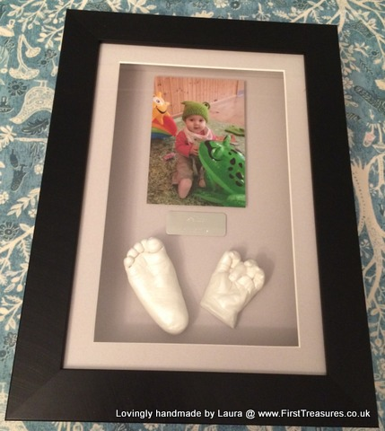 3d framed hand and foot cast with photo