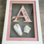 3d hand and foot casts with wooden letter