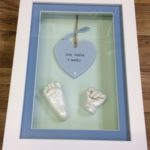 3d framed hand and foot cast with wooden plaque