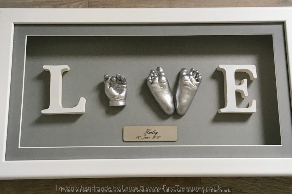 3d hand and foot casting 'Love'