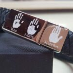 3 PRINT PERSONALISED MEN'S BRACELET – WITH STAINLESS STEEL CLASP AND LEATHER STRAP