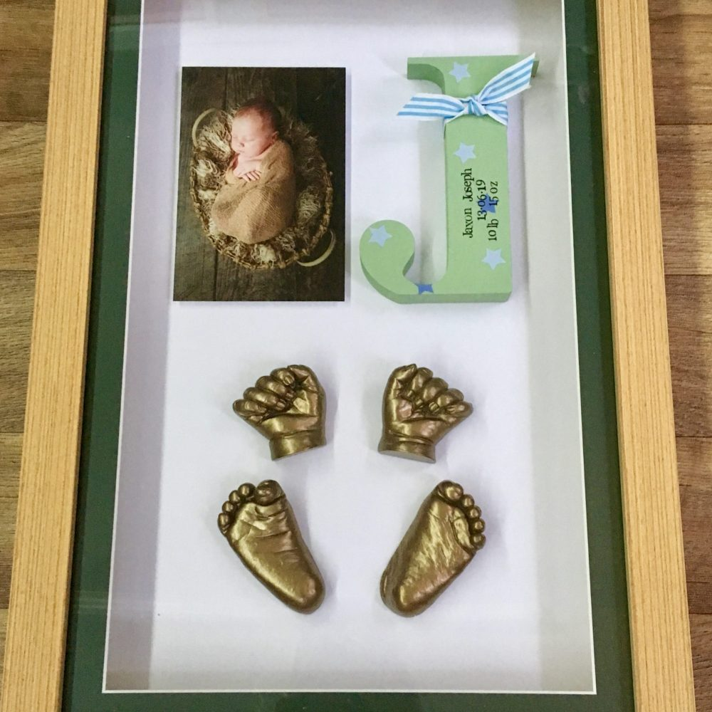 3d framed full set of casts with photo and wooden initial